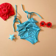 Load image into Gallery viewer, Tie front swimsuit, Sky blue