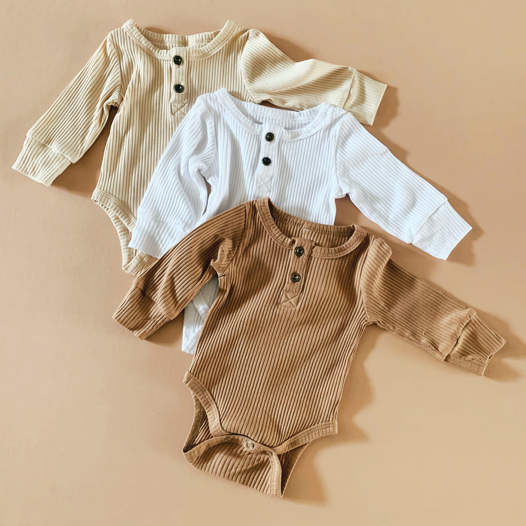 Ribbed  Cotton Bodysuit in Camel