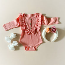 "Load image into Gallery viewer, ""Cute Front"" Romper, Peach"
