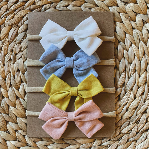 Linen Bow Headband (set of 4)