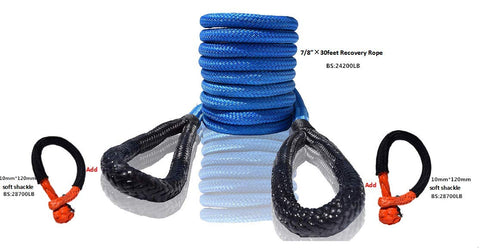 QIQU Nylon Kinetic Recovery Rope Car Towing Rope Soft Shackle for Off-Road Recovery 4x4 SUV Truck