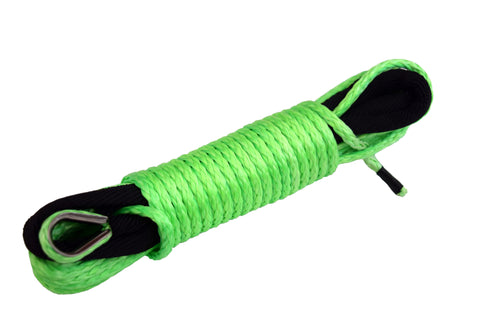 Green 50 ft 3/16 inch ATV UTV synthetic winch cable rope line