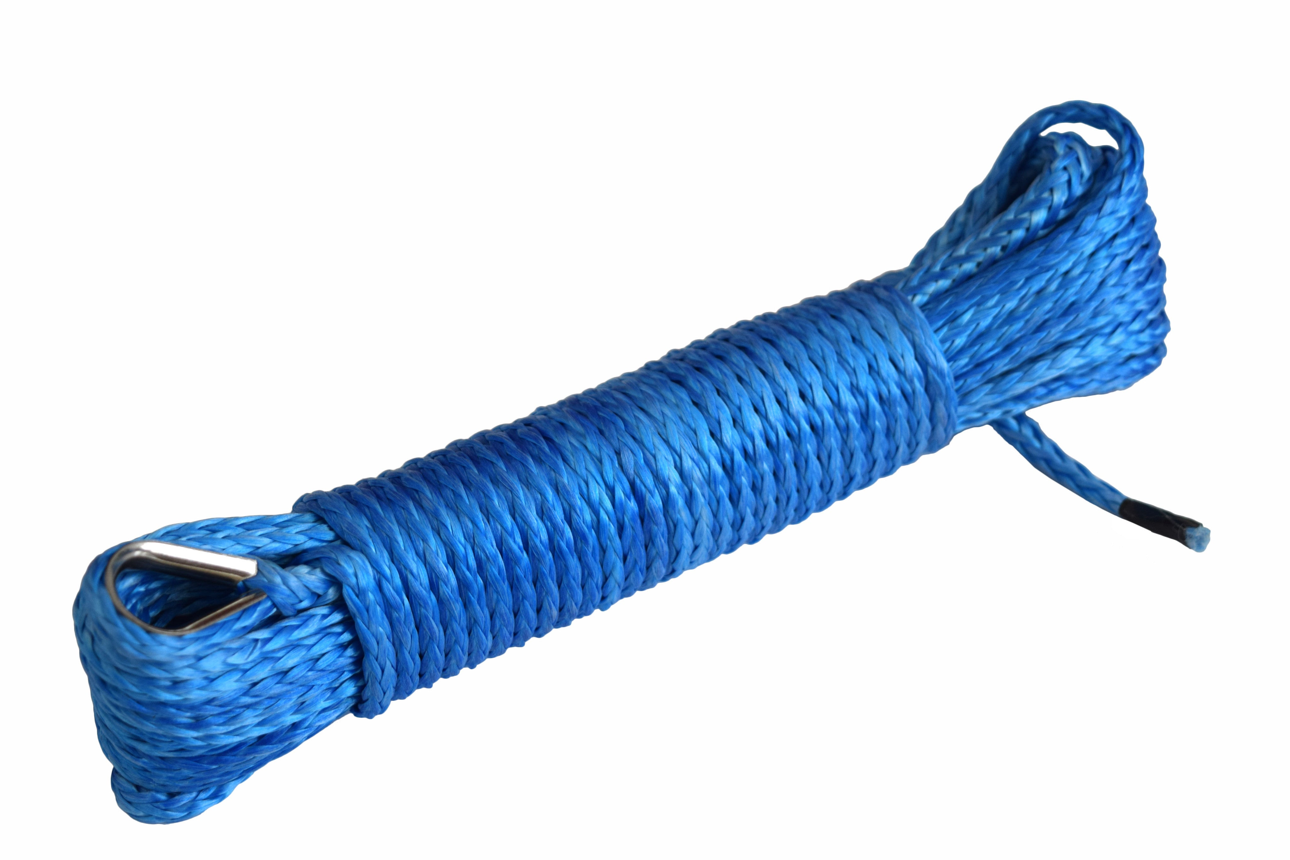QIQU Blue 50 feet 3/16 inch ATV UTV synthetic winch cable rope line with thimble one end