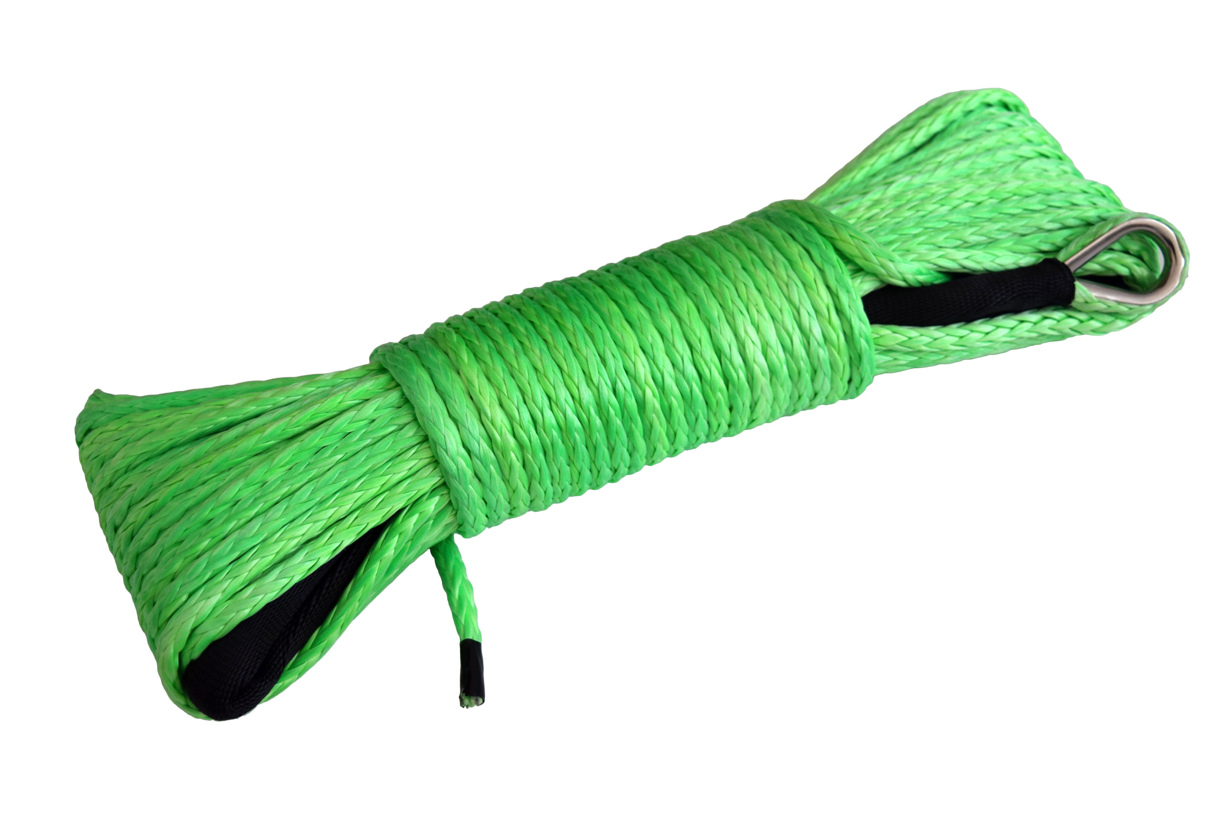 QIQU Green QIQU 50 ft 1/4 inch (6mm*15m or 1/4''x50') ATV UTV synthetic winch cable rope line