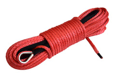 QIQU red 100ft 1/4 inch ATV UTV synthetic winch cable rope line with thimble polyester sleeve and heat seal