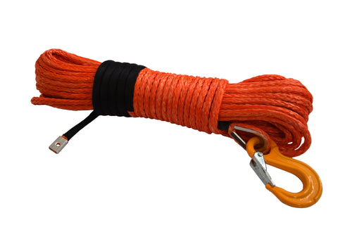 QIQU Orange 100ft 5/16 inch SUV 4x4 Off-road car synthetic winch cable rope line with thimble sleeve hook and lug