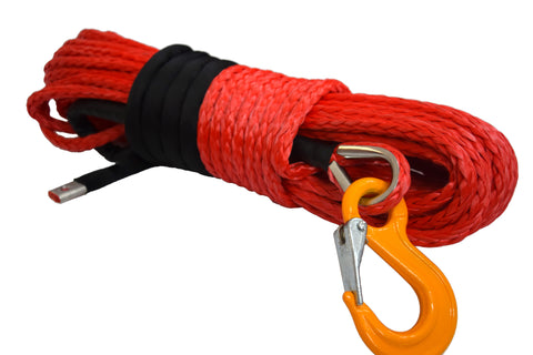 QIQU red 100ft 3/8 inch 4x4 SUV Off-road car synthetic winch cable rope line with thimble sleeve hook lug