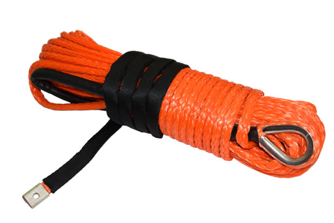 QIQU orange 100ft 3/8 inch 4x4 SUV Off-road car synthetic winch cable rope line with thimble polyester sleeve lug