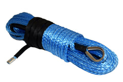QIQU blue 100ft 3/8 inch 4x4 SUV Off-road car synthetic winch cable rope line with thimble polyester sleeve lug