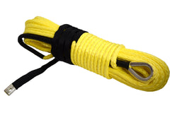 QIQU yellow 100ft 3/8 inch 4x4 SUV Off-road car synthetic winch cable rope line with thimble polyester sleeve lug