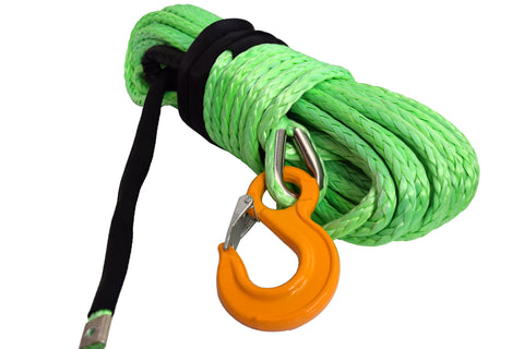 QIQU green 100 ft 1/2 inch SUV Off-road car synthetic winch cable rope line with hook and lug
