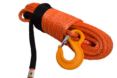 QIQU orange 100 ft 1/2 inch SUV Off-road car synthetic winch cable rope line with hook and lug