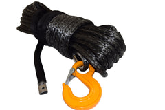 QIQU black 100 ft 1/2 inch SUV Off-road car synthetic winch cable rope line with hook and lug