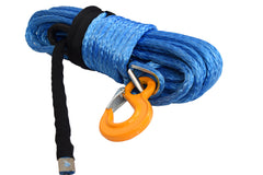QIQU blue 100 ft 1/2 inch SUV Off-road car synthetic winch cable rope line with hook and lug