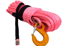 QIQU pink 100 ft 1/2 inch SUV Off-road car synthetic winch cable rope line with hook and lug
