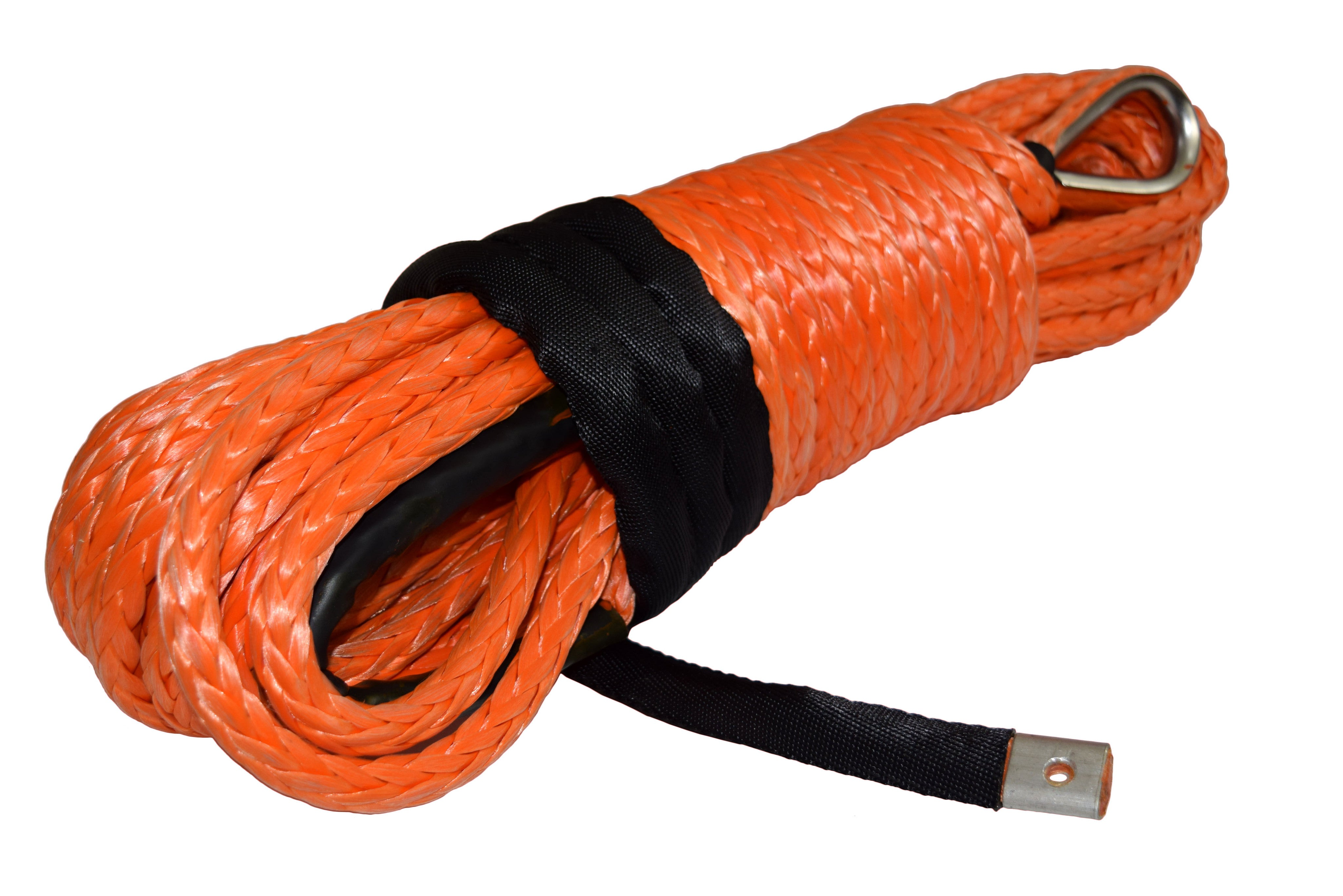 QIQU orange 100 ft 1/2 inch SUV Off-road car synthetic winch cable rope line with thimble and lug