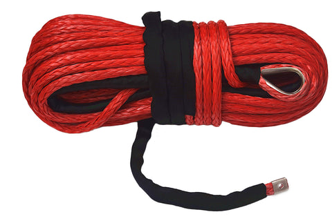16mm*30m Red Synthetic Winch Rope,Plasma Winch Cable for Electric Winches, Spectra Winch Rope