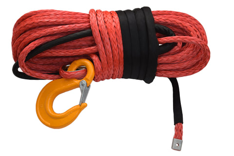Free Shipping 14mm*45m Red Synthetic Winch Rope with Hook,ATV Winch Cable, Offroad Rope