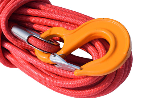 High quality 12mm*30m Red UHMWPE core with UHMWPE jacket Synthetic Rope,Plasma Winch Cable,Towing Ropes