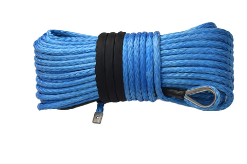 Free Shipping 14mm*45m Blue Synthetic Winch Rope,ATV Winch Cable, Plasma Winch Rope