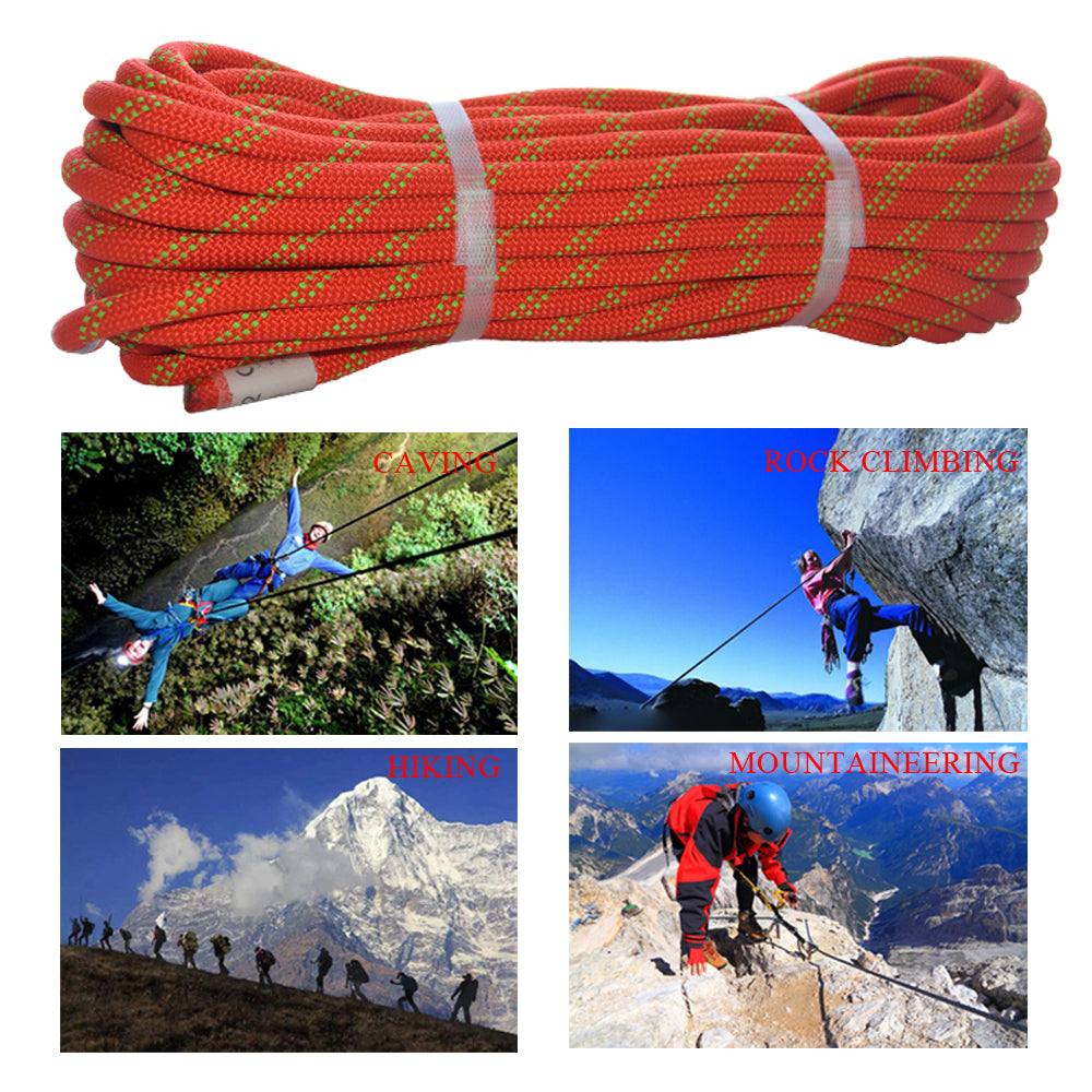 QIQU Nylon Static Climbing Rope for Outdoor Sports such as Mountaineering Abseiling Rappelling