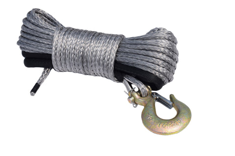 QIQU 50ft 1/4 inch Side by Side ATV winch rope made of synthetic fiber with removable hook