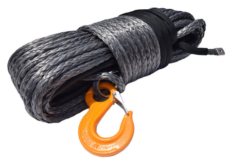 Grey 12mm*45m Synthetic Winch Rope,Plasma Winch Cable,4×4 Recovery Winch Cable for Accessaries
