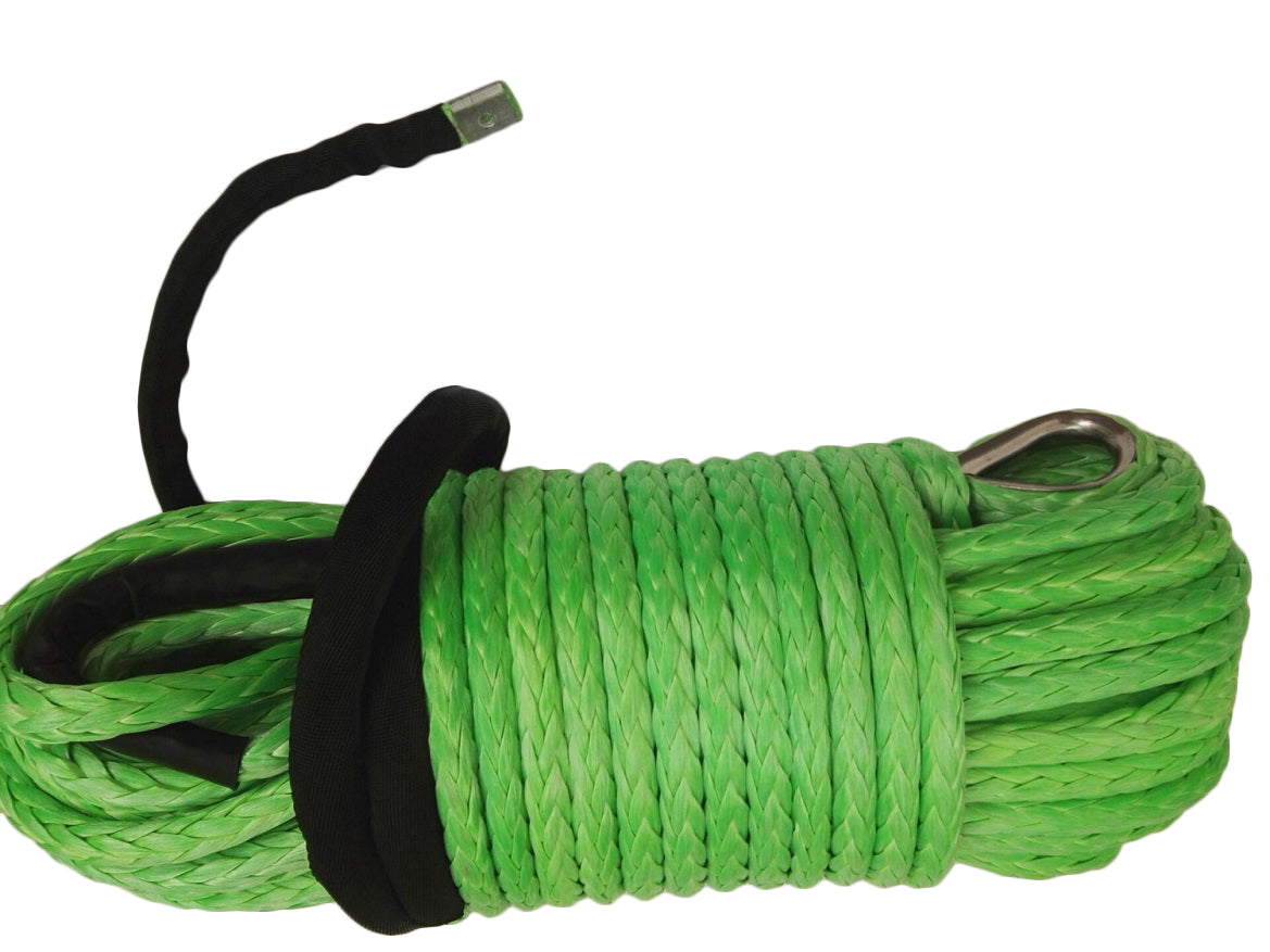 Green 12mm*45m Synthetic Winch Rope,Plasma Winch Cable,Replacement Winch Line,UHMWPE Rope