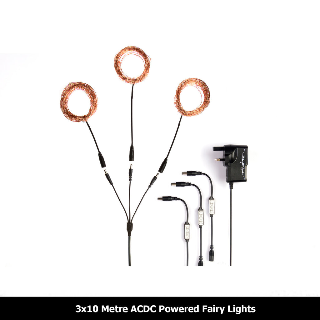 Copy of 3x10 Metre ACDC Powered Copper Fairy Lights with Remote Controller