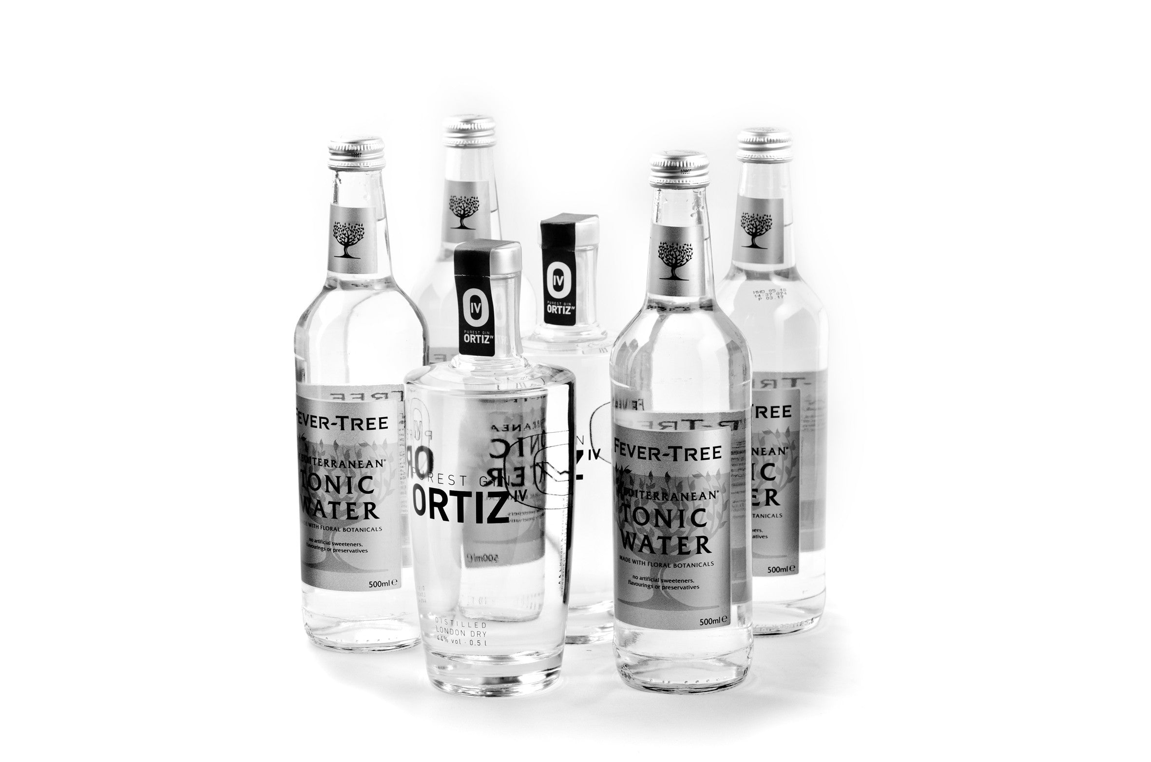 2 bottles ORTIZ IV PUREST GIN 0.5l incl. 4 bottles Fever Tree Tonic 0.5l