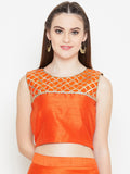 Dupion Gota Yoke Crop Top