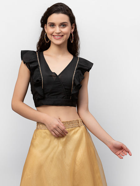 Chroma Embellished Ruffle Crop Top