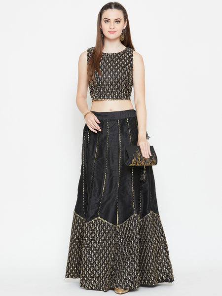 Dupion Embroidered Scallop Skirt