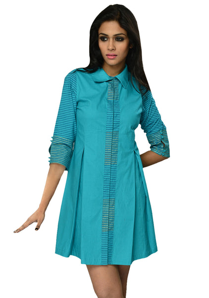 Cotton Hand Block Printed Shirt Dress