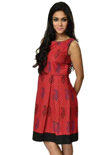 Cotton Hand Block Printed Inverted Pleate Dress