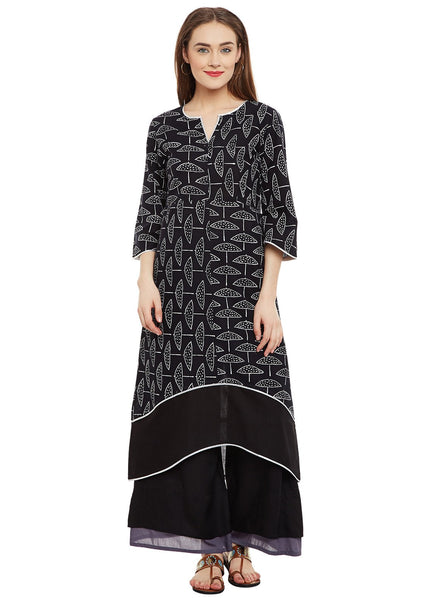 Cotton Hand Block Printed Embellished Kurta
