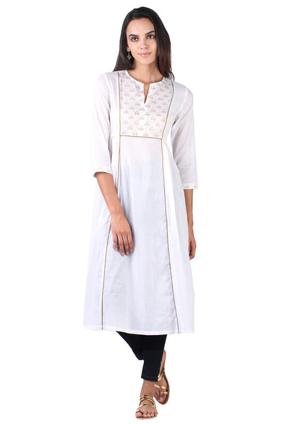 Cotton Malmal Block Printed Side Gathered Kurta