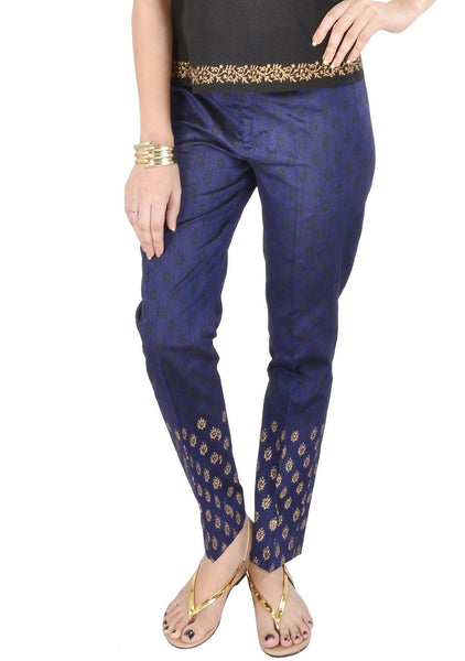Semi-Dupion Block Printed Pants