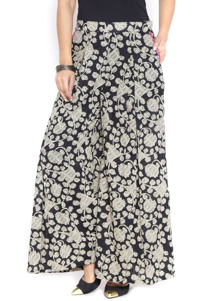 Cotton Hand Block Printed Inverted Pleat Palazzo