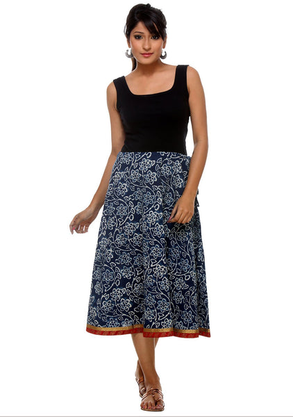 Cotton Indigo Hand Block Printed Knee Length Skirt