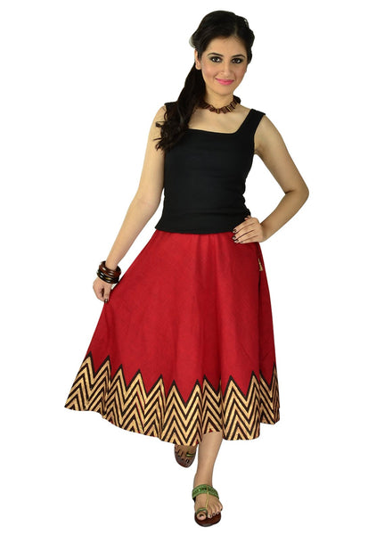 Mangalgiri Cotton Block Printed Knee Length Skirt