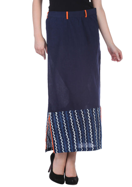Cotton Hand Block Printed Straight Skirt