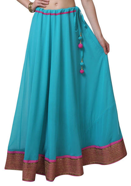 Faux Georgette Embellished Border Skirt