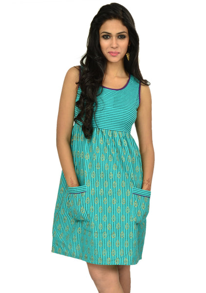 Mangalgiri Cotton Block Printed Dress