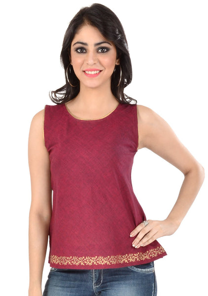 Mangalgiri Cotton Block Printed Bias Top