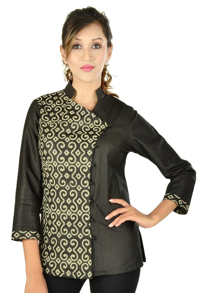Tussar Cotton Block Printed Top