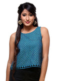 Mangalgiri Cotton Hand Block Printed Crop Top