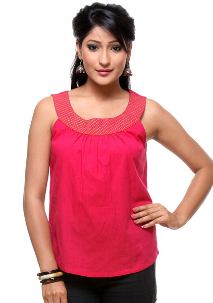 Mangalgiri Cotton Hand Block Printed Neckband Top