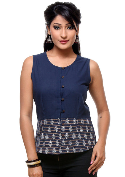 Mangalgiri Cotton Hand Block Printed Waistcoat Top