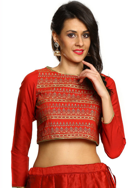Cotton Hand Block Printed Crop Top